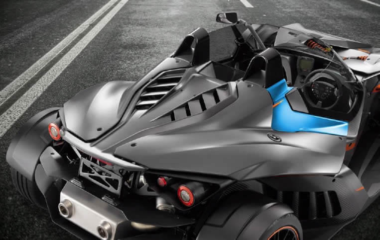 """Hennecke will display one of these groundbreaking lightweighting parts at its UTECH NORTH AMERICA booth: a latch cover made from carbon fiber-reinforced plastic for the X-Bow sports car manufactured by KTM. The latch cover was made through a process combination of Hennecke's STREAMLINE and a """"v-duo"""" vertical large-scale machine from ENGEL."""
